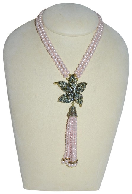 """Item - Pale Pink """"Quite Contrary"""" Floral Crystal Orchid 2-row Pearl Necklace"""