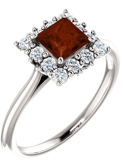 Apples of Gold PRINCESS-CUT SQUARE GARNET AND DIAMOND HALO RING, 14K WHITE GOLD Image 1