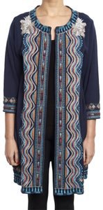 Johnny Was Bold Embroidery Flattering Fit Soft French Terry Open Front Cropped Sleeves Pea Coat