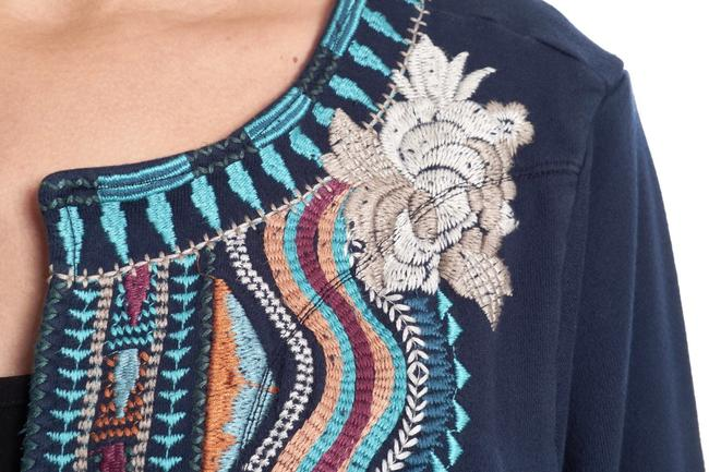 Johnny Was Bold Embroidery Flattering Fit Soft French Terry Open Front Cropped Sleeves Pea Coat Image 1