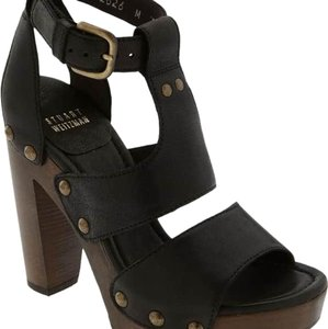 Stuart Weitzman Platform Gladiator Black Leather Mules