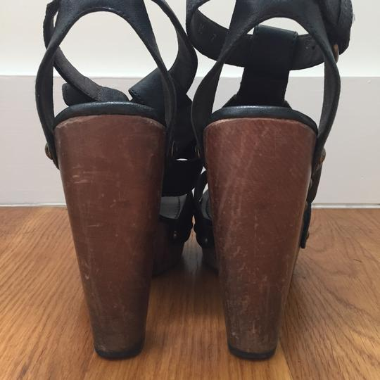 Stuart Weitzman Platform Gladiator Black Leather Mules Image 4