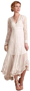 Ivory Maxi Dress by Anthropologie Silk Fabric Allover Embroiderdy Openwork Fit + Flare Hidden Side Zip