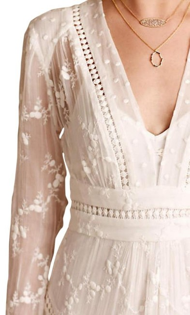 Ivory Maxi Dress by Anthropologie Silk Fabric Allover Embroiderdy Openwork Fit + Flare Hidden Side Zip Image 1