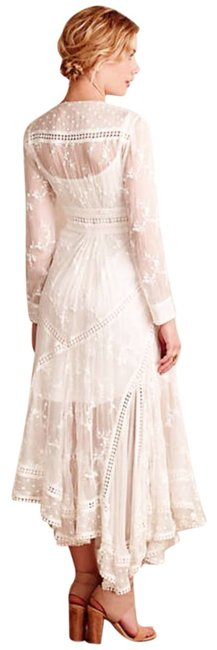 Ivory Maxi Dress by Anthropologie Silk Fabric Allover Embroiderdy Openwork Fit + Flare Hidden Side Zip Image 2