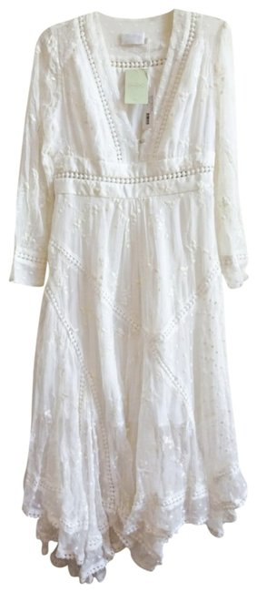 Ivory Maxi Dress by Anthropologie Silk Fabric Allover Embroiderdy Openwork Fit + Flare Hidden Side Zip Image 3