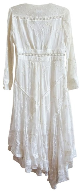 Ivory Maxi Dress by Anthropologie Silk Fabric Allover Embroiderdy Openwork Fit + Flare Hidden Side Zip Image 4