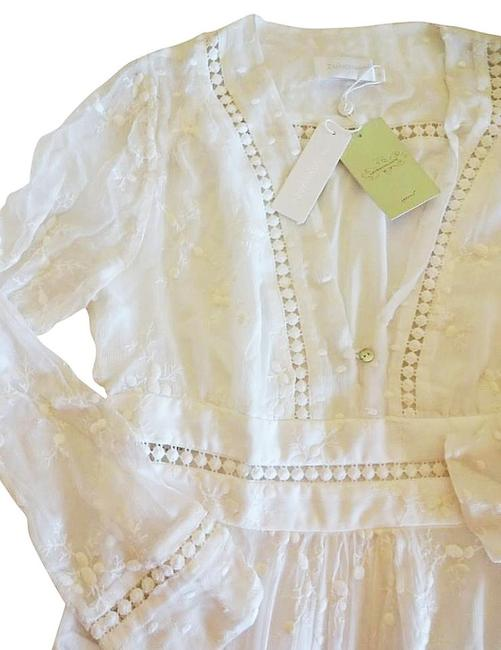 Ivory Maxi Dress by Anthropologie Silk Fabric Allover Embroiderdy Openwork Fit + Flare Hidden Side Zip Image 5