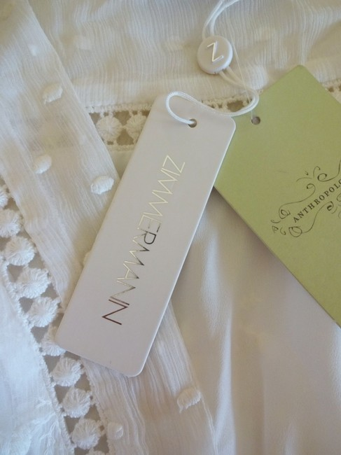 Ivory Maxi Dress by Anthropologie Silk Fabric Allover Embroiderdy Openwork Fit + Flare Hidden Side Zip Image 6