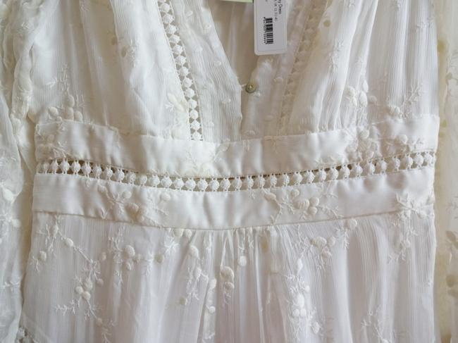 Ivory Maxi Dress by Anthropologie Silk Fabric Allover Embroiderdy Openwork Fit + Flare Hidden Side Zip Image 7