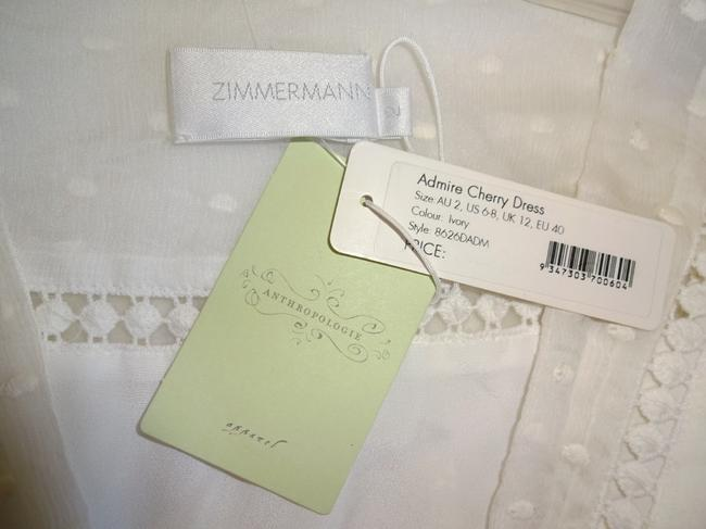 Ivory Maxi Dress by Anthropologie Silk Fabric Allover Embroiderdy Openwork Fit + Flare Hidden Side Zip Image 9