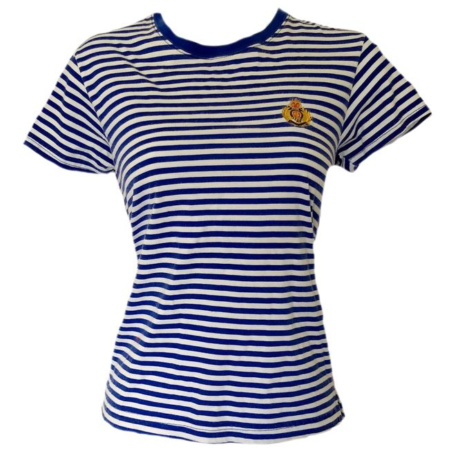 Preload https://img-static.tradesy.com/item/23753747/blue-striped-emblem-90s-stripes-tee-shirt-size-6-s-0-0-650-650.jpg