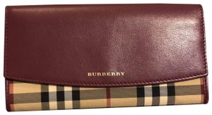 Burberry Burberry bag porter flap leather wallet mahroon in purple