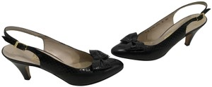 Salvatore Ferragamo MAKE AN OFFER Black all leather embossed leather borders and large bow Italian slingback Pumps