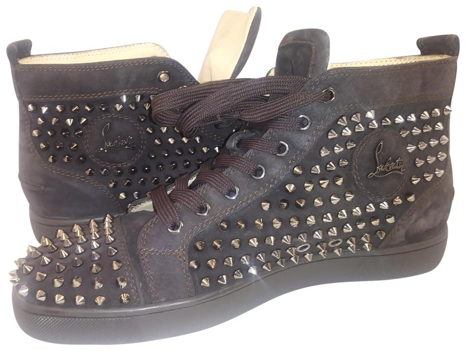 0d5bcdc23a6 Christian Louboutin Brown Lou Spikes Black High Top Spiked Sneakers Size EU  42.5 (Approx. US 12.5) Regular (M, B) 86% off retail