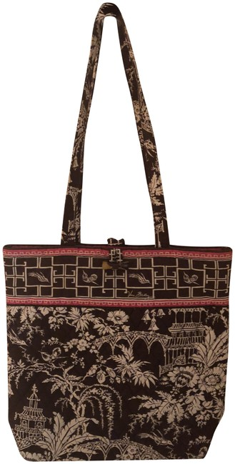 Item - Tropical Garden Brown with Pink and White Accents Cotton Shoulder Bag