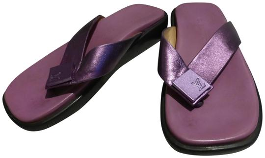 Preload https://img-static.tradesy.com/item/23754055/louis-vuitton-purple-sole-and-purple-metallic-strap-italy-thong-sandals-size-eu-375-approx-us-75-reg-0-2-540-540.jpg