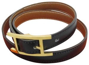 Hermès Hermes Black Gold Vintage Leather Hapi Belt 70