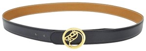 Hermès Black Brown Reversible Leather Horse Logo Belt 100