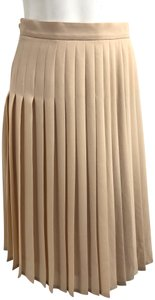 Jaeger Pleats Pleated High Waist Blush Skirt Beige