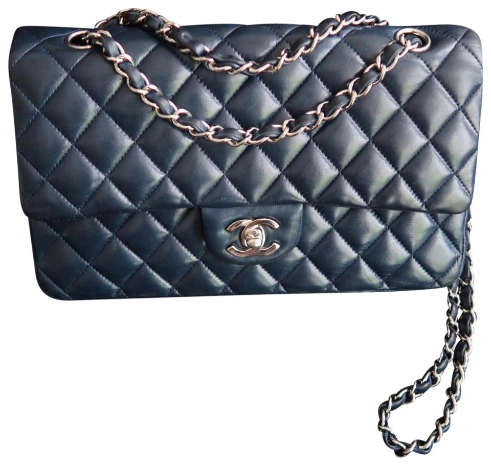 75edb661ae6991 Chanel Classic Flap Medium with Silver Hardware Navy Lambskin Leather  Shoulder Bag