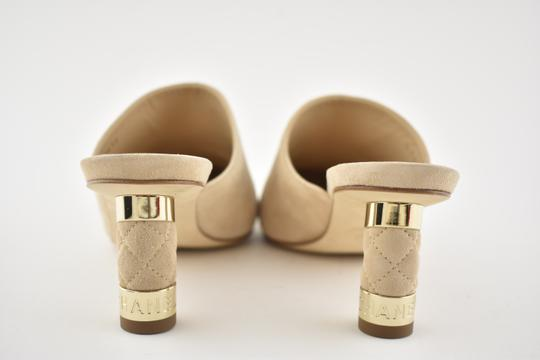 Chanel Slide Backless Quilted Stiletto beige Mules Image 8