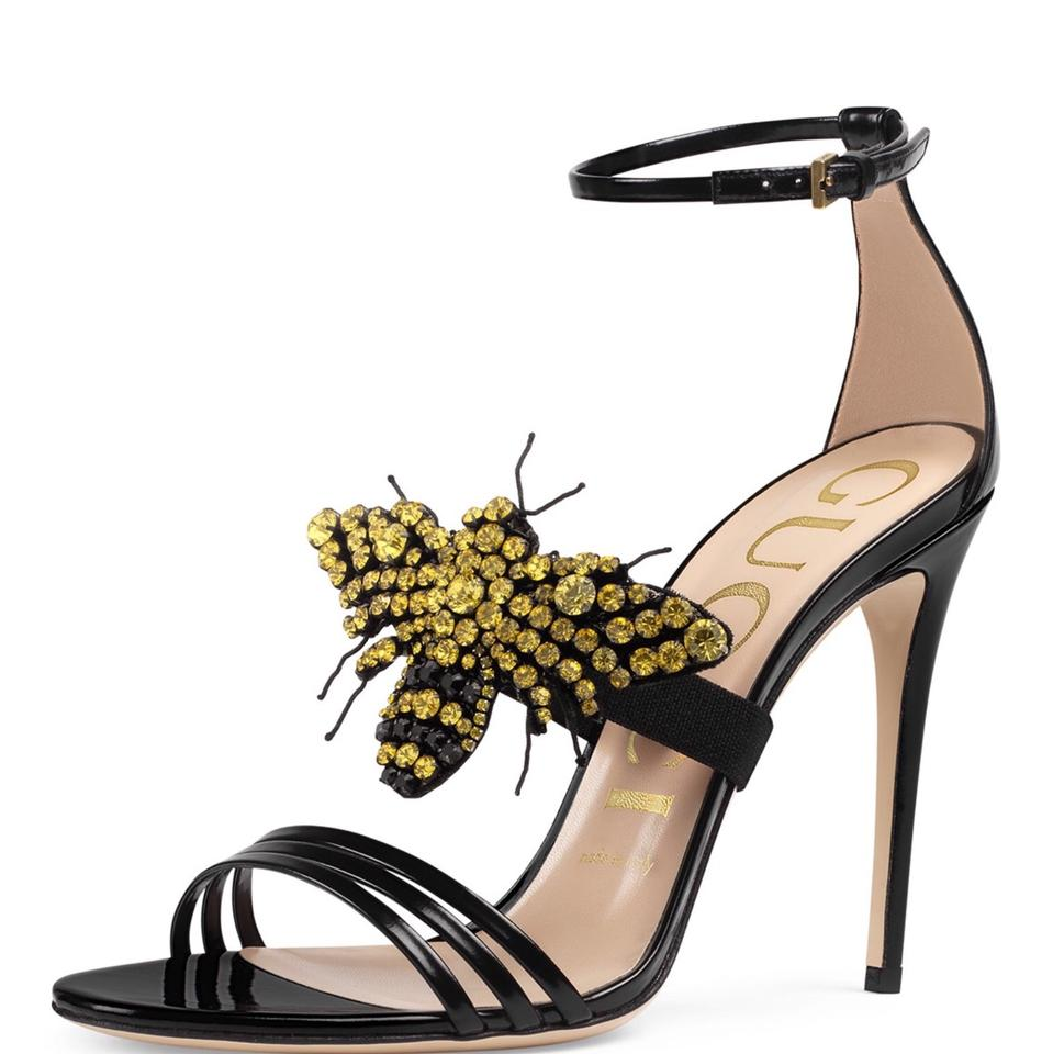 8210f0f5d492 Gucci Ilse Bee Embellished Leather Sandals Size EU 39 (Approx. US 9 ...
