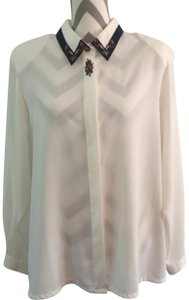 Koret Sheer Embroidered Top white