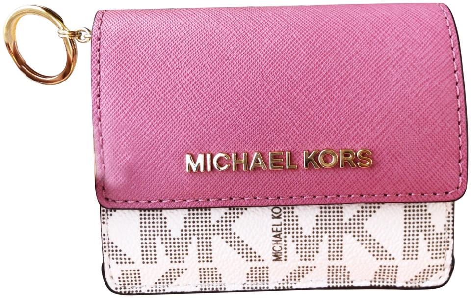 844d50d49 Michael Kors Michael Kors Jet Set Card Holder Key Ring Chain ID Vanilla  Tulip Image 0 ...
