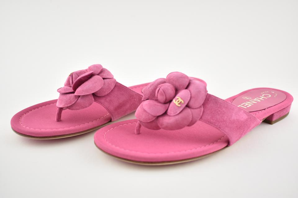 ddb277dad0e1 Chanel Camellia Flower Slides Flat pink Sandals Image 11. 123456789101112