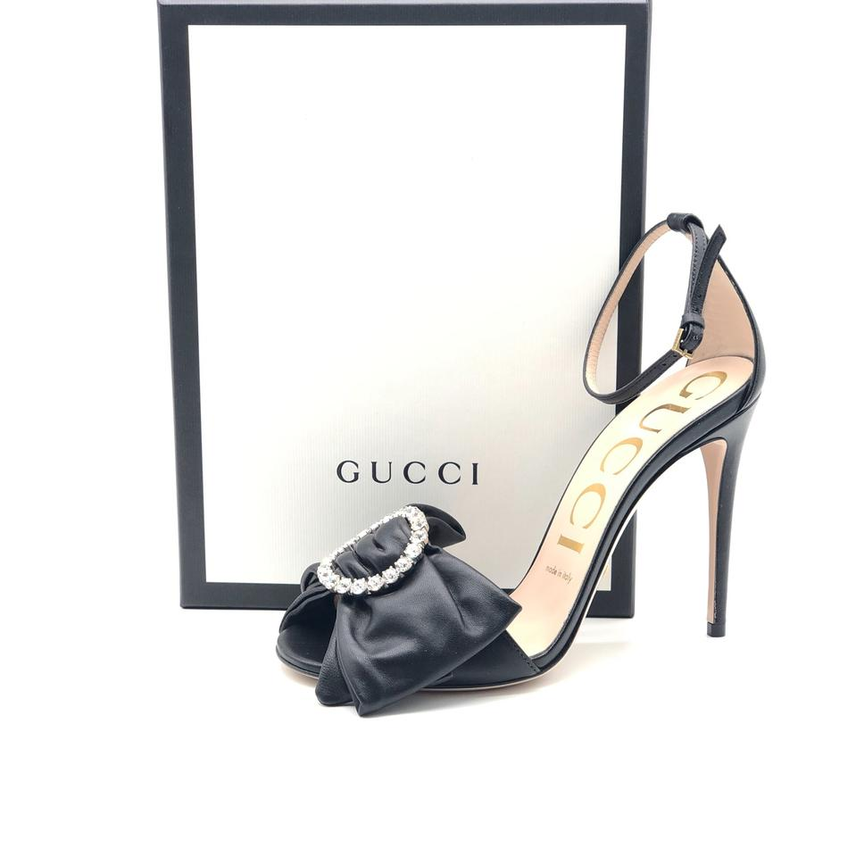 d6d61018e24 Gucci Ilse Crystal Embellished Bow Leather Sandals Size EU 39 ...