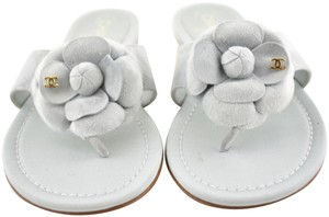 Chanel Camellia Flower Slides Flat grey Sandals