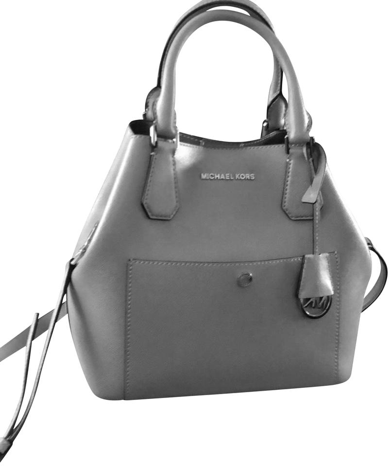 859a946603c2 ... leather messenger 9a3eb 0f5d1  real michael kors satchel in gray 26368  e37c8