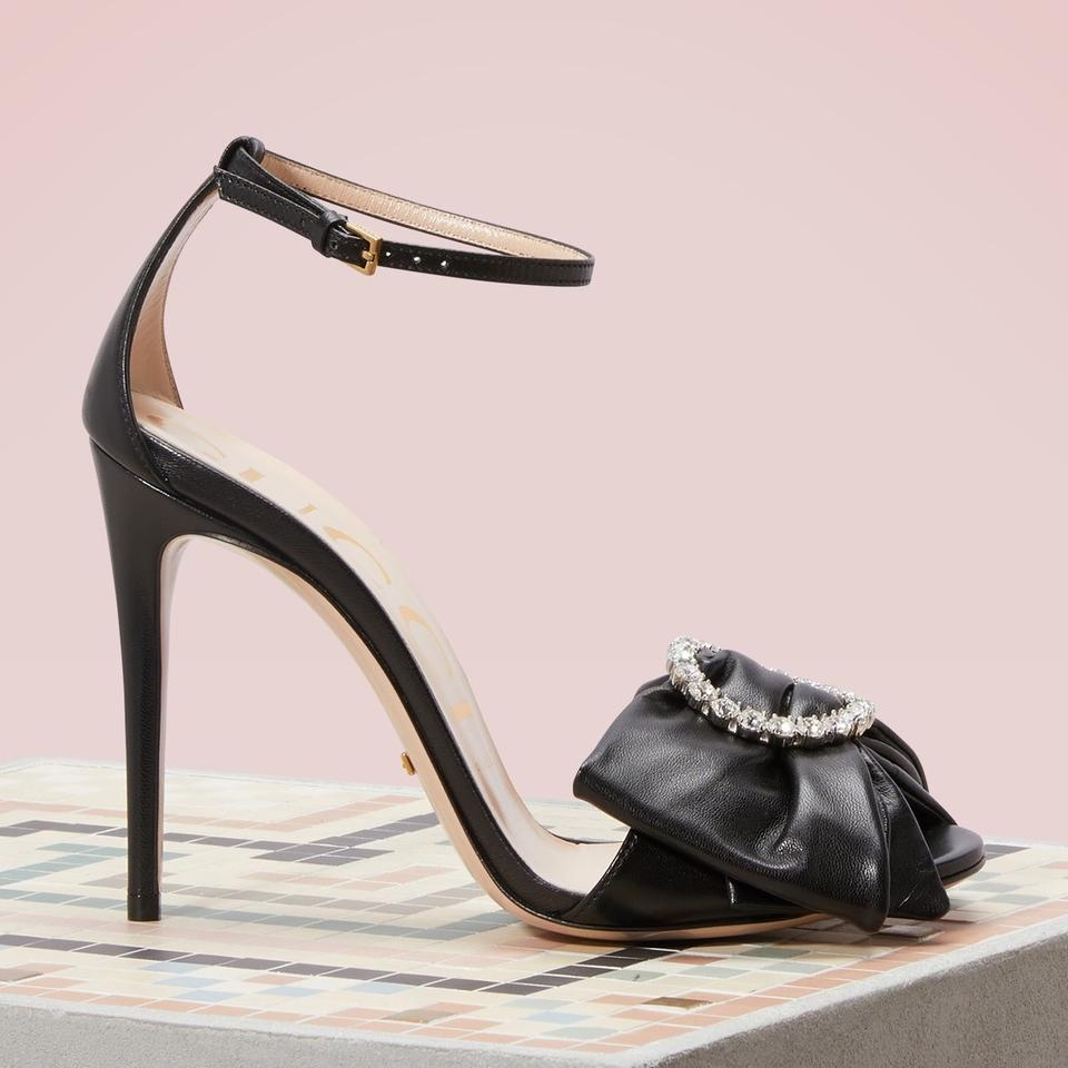 5c5051349ffb Gucci Ilse Crystal Embellished Bow Leather Sandals Size EU 39.5 ...