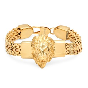 Master Of Bling 14k Gold Finish Lion Head Two Row Franco Bracelet