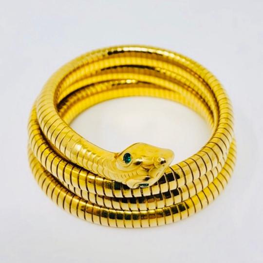 Antique Art Deco circa 1920s 14K rolled gold plated (RGP) snake coiled bracelet Image 2