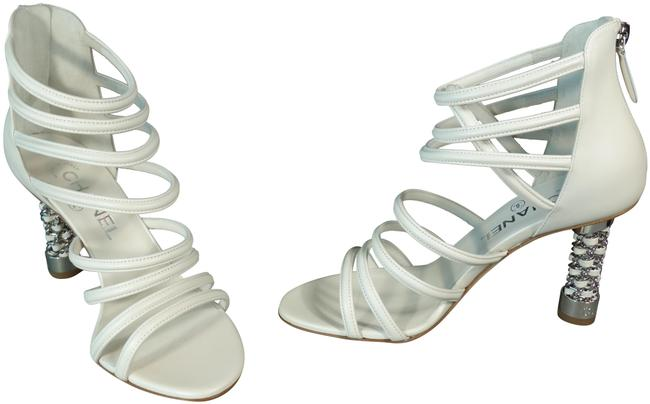 Item - White Cage Leather Silver Woven Chain Heels 8 Straps Cream Ivory Beige New Sandals Size EU 38.5 (Approx. US 8.5) Regular (M, B)