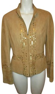 Lafayette 148 New York Suede Studded Beaded Sequin tan Leather Jacket