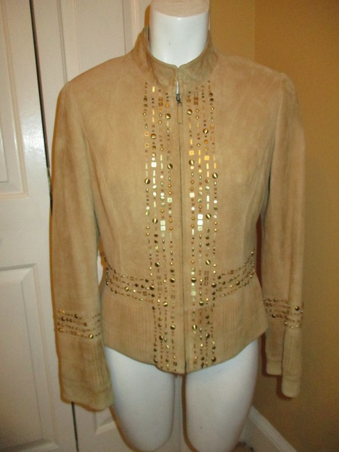 Lafayette 148 New York Suede Studded Beaded Sequin tan Leather Jacket Image 1