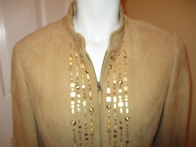 Lafayette 148 New York Suede Studded Beaded Sequin tan Leather Jacket Image 2