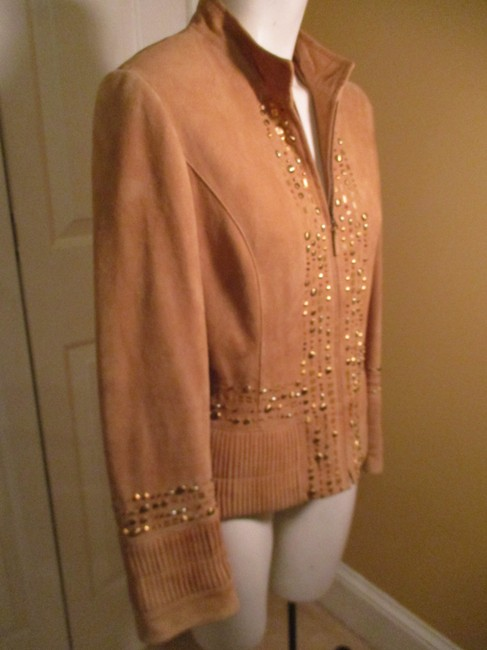 Lafayette 148 New York Suede Studded Beaded Sequin tan Leather Jacket Image 3