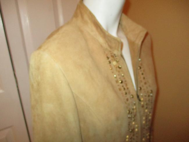 Lafayette 148 New York Suede Studded Beaded Sequin tan Leather Jacket Image 4