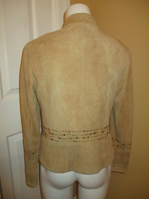 Lafayette 148 New York Suede Studded Beaded Sequin tan Leather Jacket Image 5