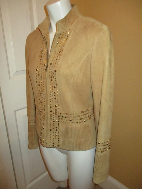 Lafayette 148 New York Suede Studded Beaded Sequin tan Leather Jacket Image 6