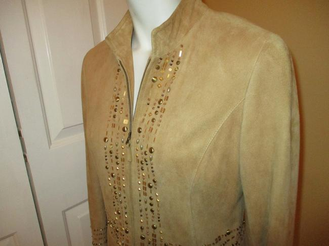 Lafayette 148 New York Suede Studded Beaded Sequin tan Leather Jacket Image 7