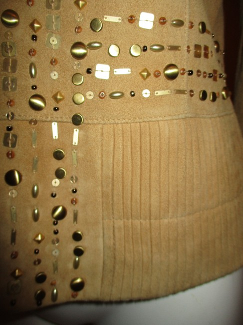 Lafayette 148 New York Suede Studded Beaded Sequin tan Leather Jacket Image 8