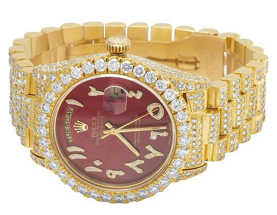 Rolex 18K Yellow Gold 18038 Day-Date President Red 36MM Diamond 22.35 Ct Image 7