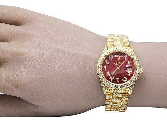Rolex 18K Yellow Gold 18038 Day-Date President Red 36MM Diamond 22.35 Ct Image 9