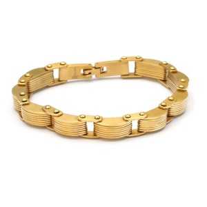 Master Of Bling 14k Gold Finish Men's Stainless Steel Link 8'' Bracelet