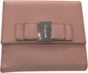 Salvatore Ferragamo Saffiano Leather Vara Bow French Wallet in Nude Color with Silver Hardware